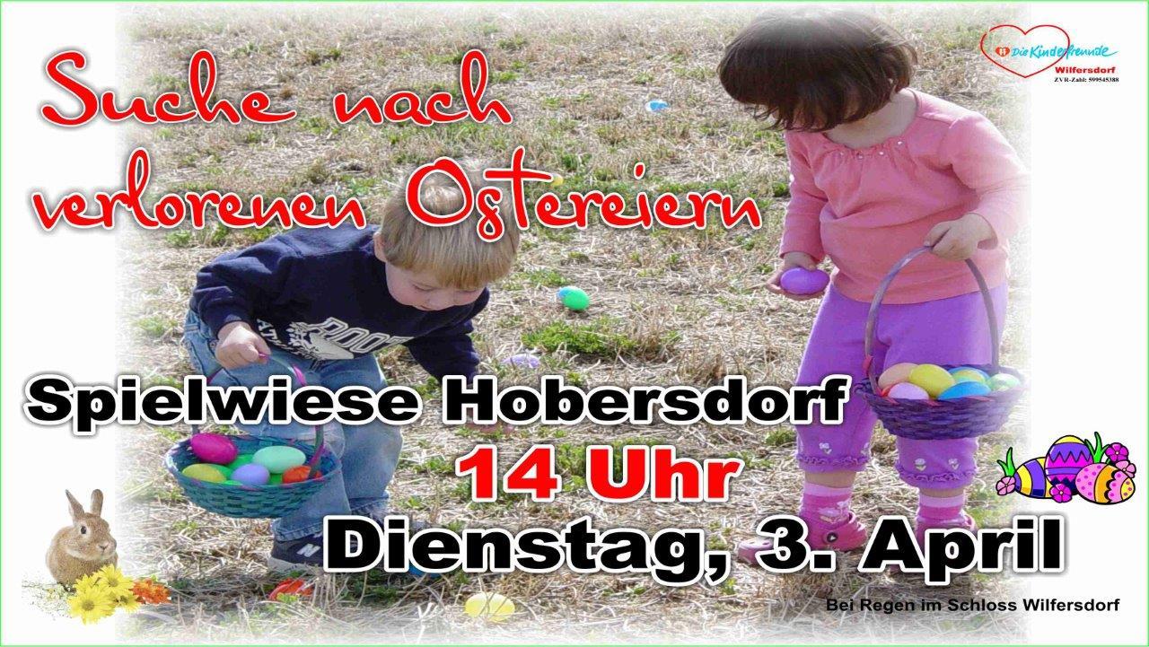 Suche verlorener Ostereier auf der Spielwiese Hobersdorf